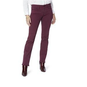 NYDJ Marilyn Straight Jeans Deep Merlot SZ 8 Burgundy Stretch Tummy Control